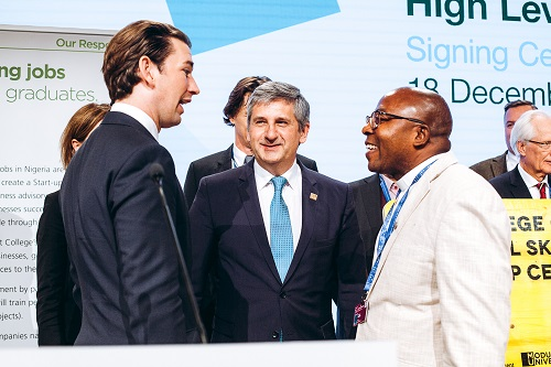 GOUNI VC with the Austrian Prime Minister Sebastian Kurz during the signing of an MoU with the Austrian Government