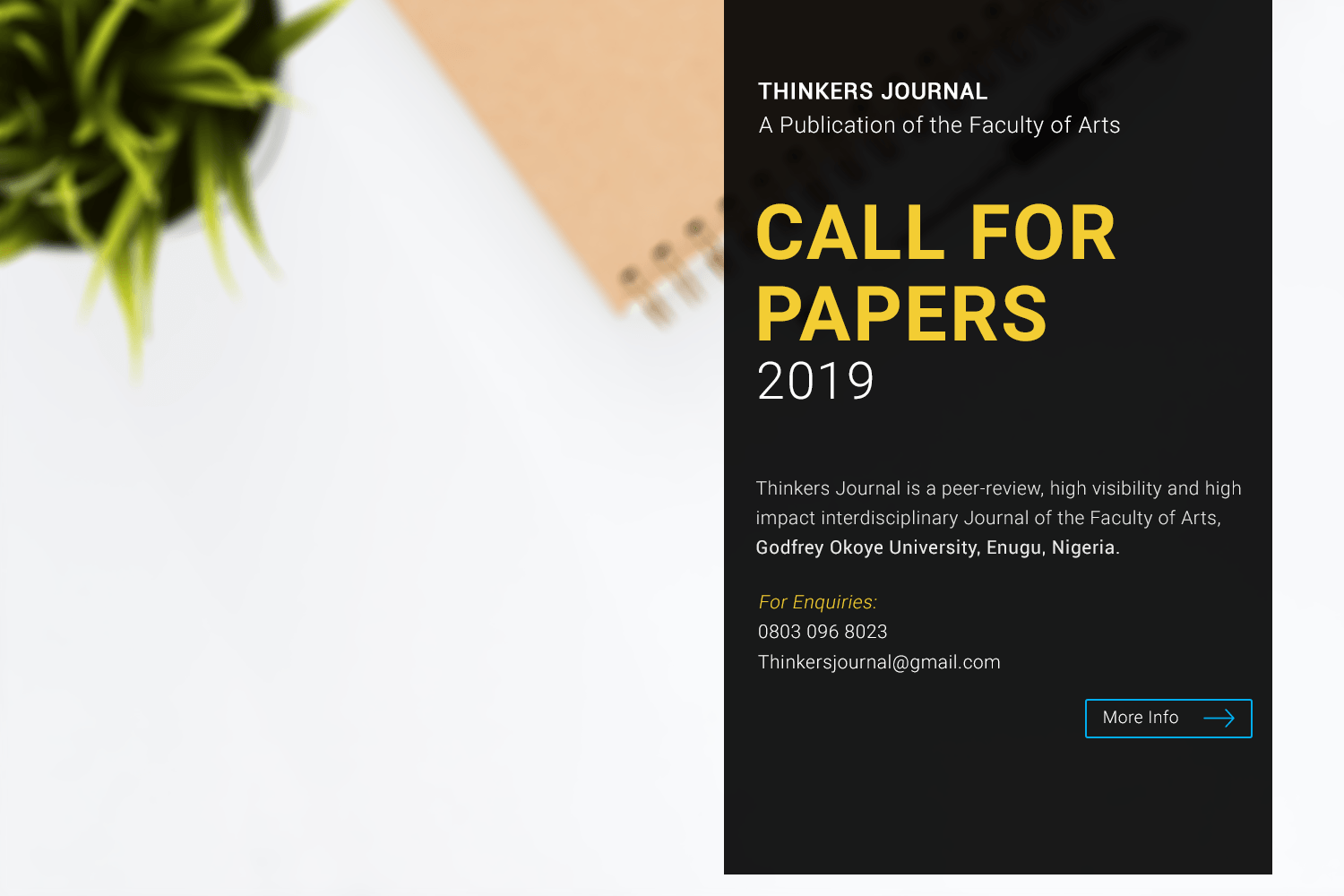 THINKERS JOURNAL – CALL FOR PAPERS