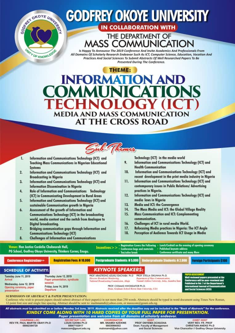 DEPARTMENT OF MASS COMMUNICATION SET TO HOLD ITS 2ND ANNUAL INTERNATIONAL MULTI-DISCIPLINARY CONFERENCE FROM JUNE 11, 2019 TO JUNE 14, 2019.