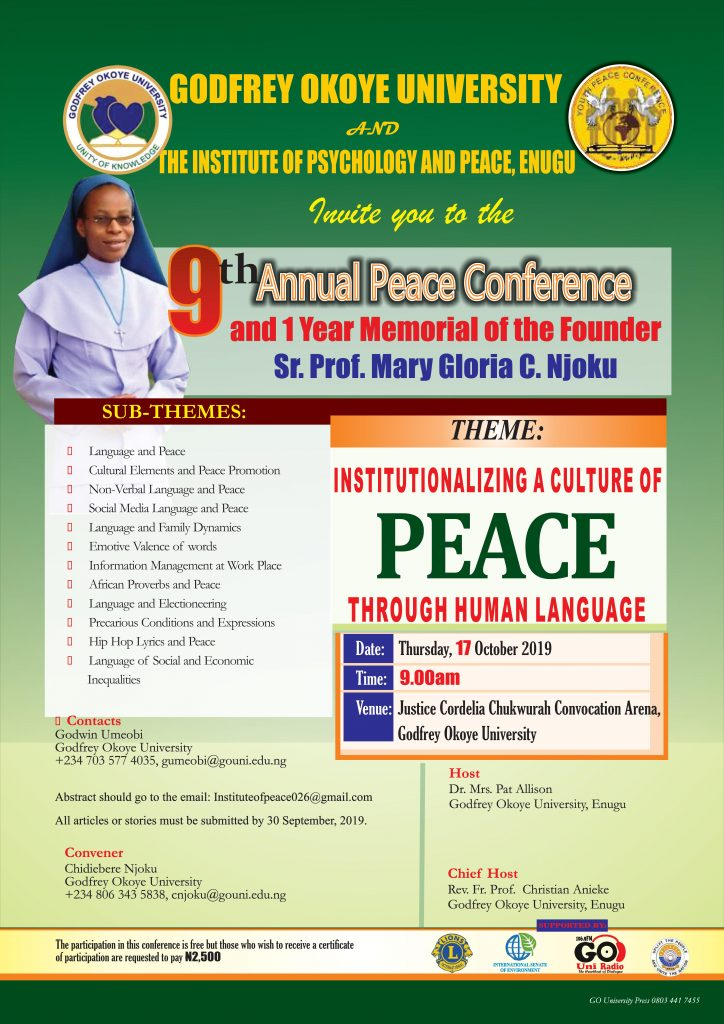 9th Annual Peace Conference and 1 Year Memorial of the Founder Sr. Prof.Gloria C. Njoku 1